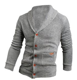 Wholesale green cardigan sweater men - Fall-IMC Sweater Lapel Mens Cardigan Sweater Black Fashion Long Sleeve Knitted Sweater Coat of Cultivate One's Morality 2pcs lot