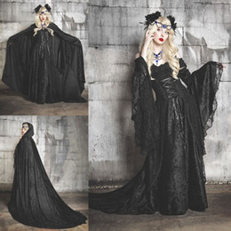 Wholesale Navy Blue Costumes - Halloween Costumes Fancy Prom Dress Off Shoulder Vampires Devils Cosplay Costume Long Sleeve Custom Made Victorian Ball Gown