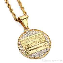 Wholesale Men Gold Pendent - Fashion Charms Mens Stainless Steel Gold Plated Necklace The Last Supper Pendent Chain Punk Rock Micro Men Women Costume Jewelry