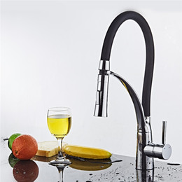 Wholesale Nickle Kitchen Faucet - The Kitchen Mixer Cold and Hot Rotate 360 degrees Tap Single Handle chrome Faucet,All of brass body and black rubber Kitchen Faucet