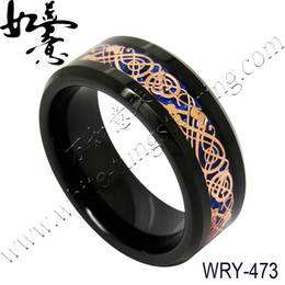 Wholesale Background Size - 8mm Blue Background Rose Dragon inlay Black Tungsten Wedding Band for Men WRY-473
