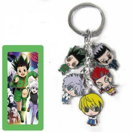 Wholesale Hunter Figures - Anime Cartoon Hunter x Hunter Keychains Color Metal Figures Pendants with Key Ring Small Charms Cosplay ornaments