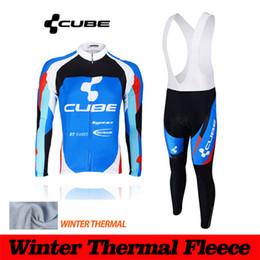 Wholesale Cube Long Jersey - 2016 CUBE winter thermal fleece cycling jerseys long sleeve pro team cycling jersey bicycle mtb winter cycling clothing sets men wear A-K16