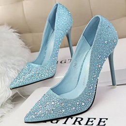 Wholesale Glasses Career - Cinderella Glass Slipper Diamond Stiletto Shoes High Heels Silver Sequined Summer Wedding Pointed Toe 2015
