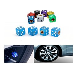 Wholesale Nut Stainless Steel - 4PCS Creative Universal Dice Shape Car Tire Valve Caps Stainless Steel Wheels Nut Auto Tyre Air Cap Car Styling
