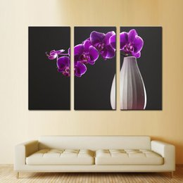 Wholesale Rectangle Flower Vase - 3 Picture Combination Mauve Phalaenopsis Vase Silk Flower Arrangement Paintings The Picture Print On Canvas For Home Decoration