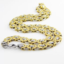 Wholesale Gold Plated Byzantine Necklace - 55 cm Length 11mm Width Byzantine Stainless Steel Necklace MENS Boys Chain Necklace Gold Tone Fashion Men Jewelry