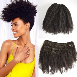 Wholesale Cheap Black Hair Clips - Cheap Clip In Human Hair Extensions Afro Kinky Curly Peruvian Hair Natural black Color 120g set 100% Remy Human Hair G-EASY