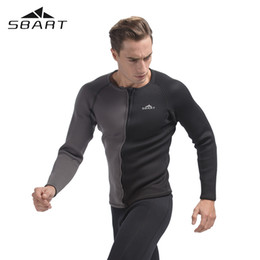 Wholesale Neoprene Swimming - SBART 3MM Neoprene Long Sleeve Winter Swimming Wetsuit Men Shirt Rash Guard Diving Surfing Jersey Shirts Tops Swimsuit Tops