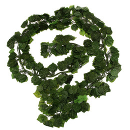 Wholesale Wholesale Fake Flowers For Weddings - 12Pcs 6.5Ft Artificial Ivy Leaf Garland Plants Vine Fake Foliage Flowers For Home Garden Wedding Decoration Rattan Leaf Vine