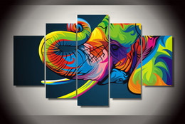 Wholesale Elephant Oil Canvas Painting - 5 Piece HD Printed Colorful elephant Painting Canvas Print room decor print poster picture wall art canvas