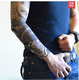 Wholesale Long Fingerless Gloves Pink - Summer women's men's personality tattoo print outdoor driving riding travel sports sunscreen long gloves oversleeve sleevelet