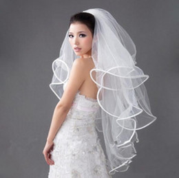 Wholesale Women Wedding Veils - 2016 In Stock Women Elegant 4 Layers Tulle White Wedding Veils Ribbon Edge Wedding Accessories Bridal Veils With Comb Free Shipping