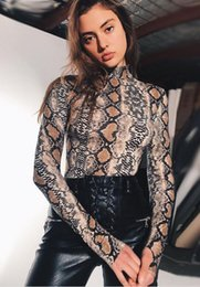 Wholesale Women Bodysuits Fashion - New Arrival Snake Print turtleneck Bodycon Bodysuits Sexy Night Club Bandage Rompers Women Jumpsuits Full Sleeve Playsuits