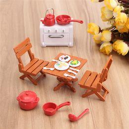 Wholesale Plastic Dollhouse Dolls - DIY Plastic DollHouse Mini Picnic Set Acessories For Children 1 12 Dolls House Miniatura Decor Table Furniture Toy Sets
