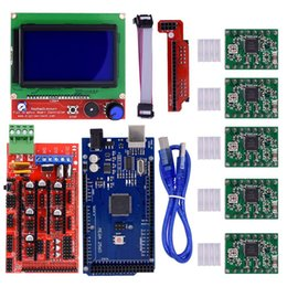 Wholesale Ramps Lcd 12864 - Mega2560 Control Board+LCD 12864 Graphic Smart Display Controller+Ramps 1.4 Mega Shield+A4988 Stepstick Motor Driver with Heat Sink