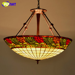 Wholesale Lampe E27 - FUMAT Tiffany Stained Glass Lamp Country Style Pinecone Glass Pendant Lamp Living Room Hotel LED Suspension Light Decoration Lampe