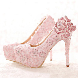 Wholesale High Heels Platform Rose - Fashion Pink Lace Bride Shoes Rhinestone Rose Flower High Heel Wedding Shoes Platform Round Toe Princess Pumps Prom Shoes