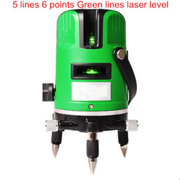 Wholesale Green Rotary Light - Wholesale-Marking instrument 5 lines 6 points green light laser level infrared laser 360 degree rotary cross laser cast thread