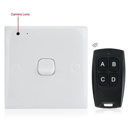 Wholesale Remote Control Switch Camera - Hidden Socket Wall Switch Spy Camera With Motion Detection Remote Control Home Security Hidden Mini DV White