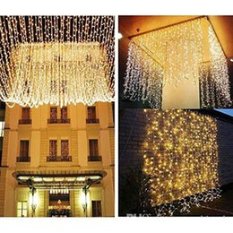 Wholesale Icicle Outdoor Lights - Christmas Decoration 10m 20m 30m 50m Droop Curtain Icicle String Led Lights AC110V-220V For Outdoor New Year Garden Xmas Wedding Party