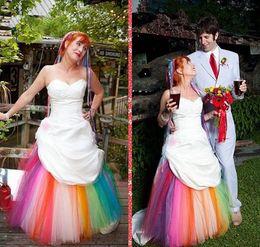 Wholesale Modest Taffeta Wedding Dresses - Colorful Wedding Dress Sweetheart Modest Taffeta A-Line Bridal Gowns Custom Made 2016 vestido de novia