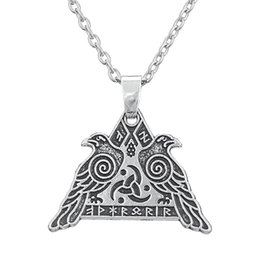 Wholesale Wholesale Man S Necklace Pendant - My Shape Religious Jewelry Series Antique Silver Valknut Odin 's Raven Necklaces for Man and Woman