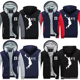 Wholesale cool boys jackets - New Cool Man Hoodie LeBron James Boy Jacket Men Long SleeveThicken Fleece Zipper Tops Male Hot Sale USA EU size Plus size