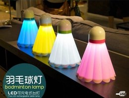 Wholesale Small Bedside Table Lamps - Wholesale- Badminton creative led small night lamp energy saving lamp charging small baby baby bedroom bedside table lamp Free shipping