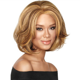 Wholesale Wig Short Blonde Heat - WoodFestival harajuku bob curly wig synthetic ladies ombre blonde hair wigs women heat resistant fiber short wig peruca lolita