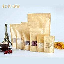 Wholesale Cheap Small Gift Bags Wholesale - 5 pcs Gift Bag 9x14cm Ziplock Brown Cheap Kraft Paper Bags Small Sachet Packaging Bolsas De Papel Embalagem Para Doce Pouch