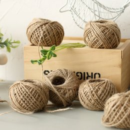 Wholesale 2mm Natural Jute Twine - 50M pcs Natural Burlap Hessian Jute Twine Cord Hemp Rope String 2mm Rustic Wrap Gift Packing String Wedding yarn Decoration