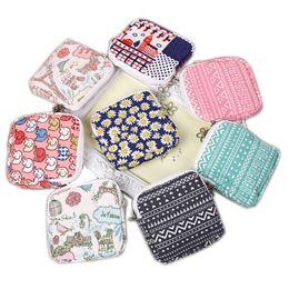 Wholesale Female Hygiene - Small Cotton Storage Bag Zipper Sanitary Towel Bags Storage Female Hygiene Sanitary Napkins Package Purse Case 8 Colors