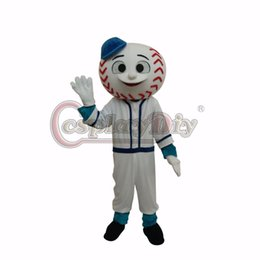 Wholesale Hat Mascot - Wholesale-Mr. Met mascot Mascot Costume Adult Unisex Halloween Baseball Cartoon Mascot Costumes With Blue Hat Custom Made D0404