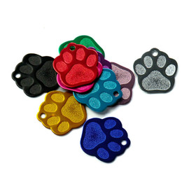 Wholesale Paw Dog Collar - Creative Dog Tags 28*26*1mm Paw Print Aluminum Pet ID Tag Custom Engraved Dog Cat Name Phone Number Tag Personalized Collar Accessories