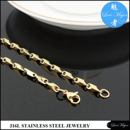 Wholesale Round Thick Necklace - New Round gold plated fashion stainless steel necklace jewelry with 3mm thick stick chain for women