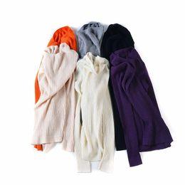 Wholesale fall tunics - Woman Sweater Solid Rib pullovers 90%Merino Wool 10%Silk knitted sueter top tunic jumper pull femme 2017 Fall Winter