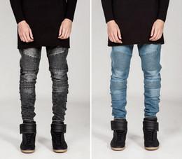 Wholesale Slimming Bomb - 2016 New men's BIKER JEANS male personality folds Slim pants feet jeans micro-bomb