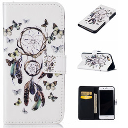 Wholesale Black Cat Iphone Case - Dreamcatcher Flower Butterfly Feather Wallet Leather For Iphone 7 I7 Plus 6 6S SE 5 5S 5C Huawei P9 Lite Flip Cover Bear Cat Cartoon Pouch