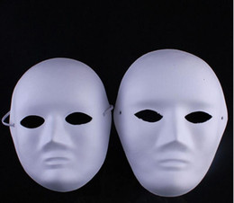 Wholesale Masquerade Mask White Paint - DIY woman &man white face Masks Hand Painted suit for Halloween Masquerade Party cosplay masks blank face masks
