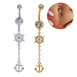 Wholesale Body Jewelry Anchors - Belly Rings Anchors Dangle Belly Button Rings Body Piercing Gold Silver Sexy Navel Rings Stainless Steel Wedding Belly Bars Body Jewelry