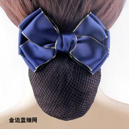 Wholesale Rhinestone Hair Bun - Hot Sale Satin Bow Rhinestone Barrette Lady Hair Clip Cover Bowknot Net Bun Snood free shipping