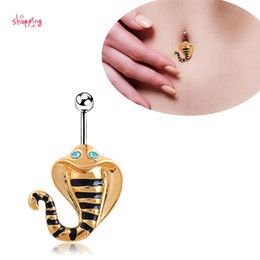 Wholesale Sexy Plastic Lingerie - 5pcs lot Vintage Snake Cobra Piercing Navel Belly Button Rings Lingerie Sexy Body Jewelry Perfume for Personality Body Jewelry