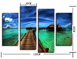 Wholesale Led Pictures Wholesale - 1set(4pcs) (Leading to the depths of the sea) abstract inkjet decorative painting, No Frame