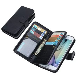 detachable wallet flip case Coupons - 9 Credit Card Slots Photo Frame Flip Wallet Leather Case W  Magnetic Detachable Cover for Samsung Galaxy Note7 S6 Edge Plus Note5 S7 Edge S5