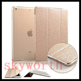 Wholesale Pro Back - Slim Silk pattern Magnetic smart cover front +back case for ipad pro 9.7 2017 ipad air 2 3 4 5 6 stand