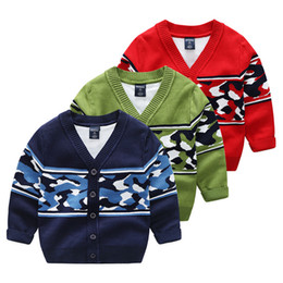 Wholesale Camo Sweaters - Autumn Boys clothing Cardigan Casual Camo Mercerized cotton Sweater Jacquard V-neck cardigan Navy Green Red 2017 New style Wholesale