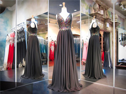 Wholesale Drop Waist Pageant Dresses - Black Chiffon V-Neck Drop Waist Prom Dress Colorful Beading Top A-line Elegance Evening Dress Long Pageant Dress