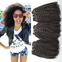 Wholesale Malaysian Hair Dhl - 3pcs Peruvian Afro Kinky Curly Hair Extensions Unprocessed Human Hair Weave 8-30inch Can Be Dyed G-EASY DHL FREE