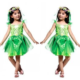 Wholesale Girls Dresses Tinker Bell - Fancy Masquerade Party Tinker Bell Girl Children Cosplay Dance Dress Costumes for Kids Green Halloween Clothing Lovely Dresses